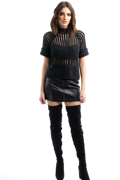 Snake Effect Faux Leather Mini Skirt