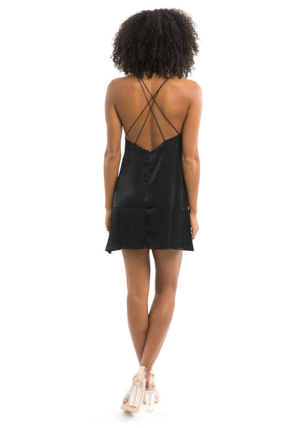 Black Satin Slip Mini Dress