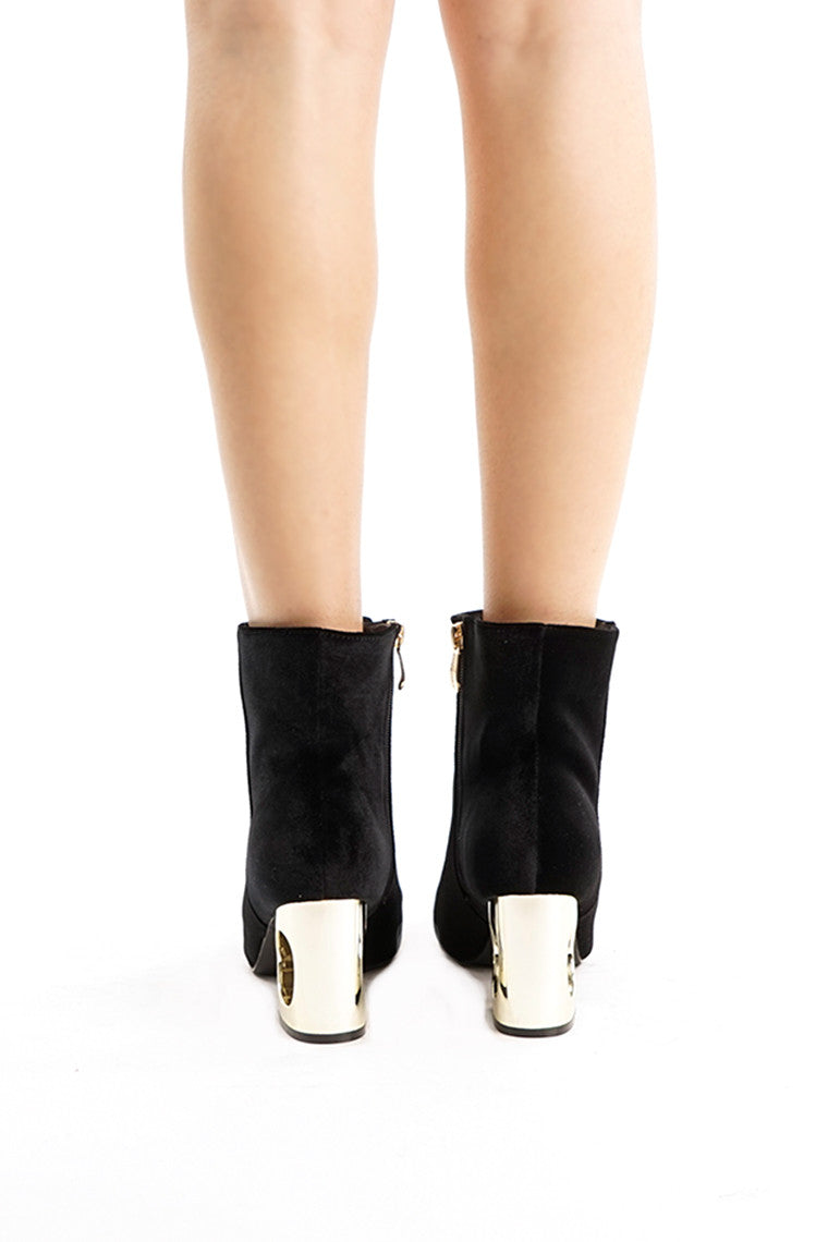 Black Velvet Gold Heel Booties