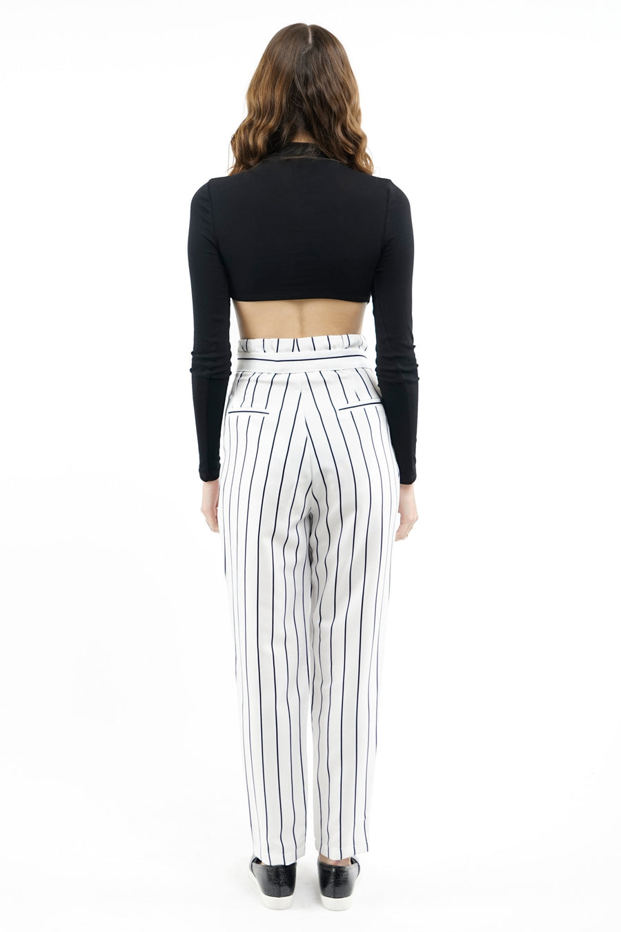 Striped High-Waisted Pants