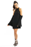 Black Tunic Bell Sleeve Halter Mini Flared Dress