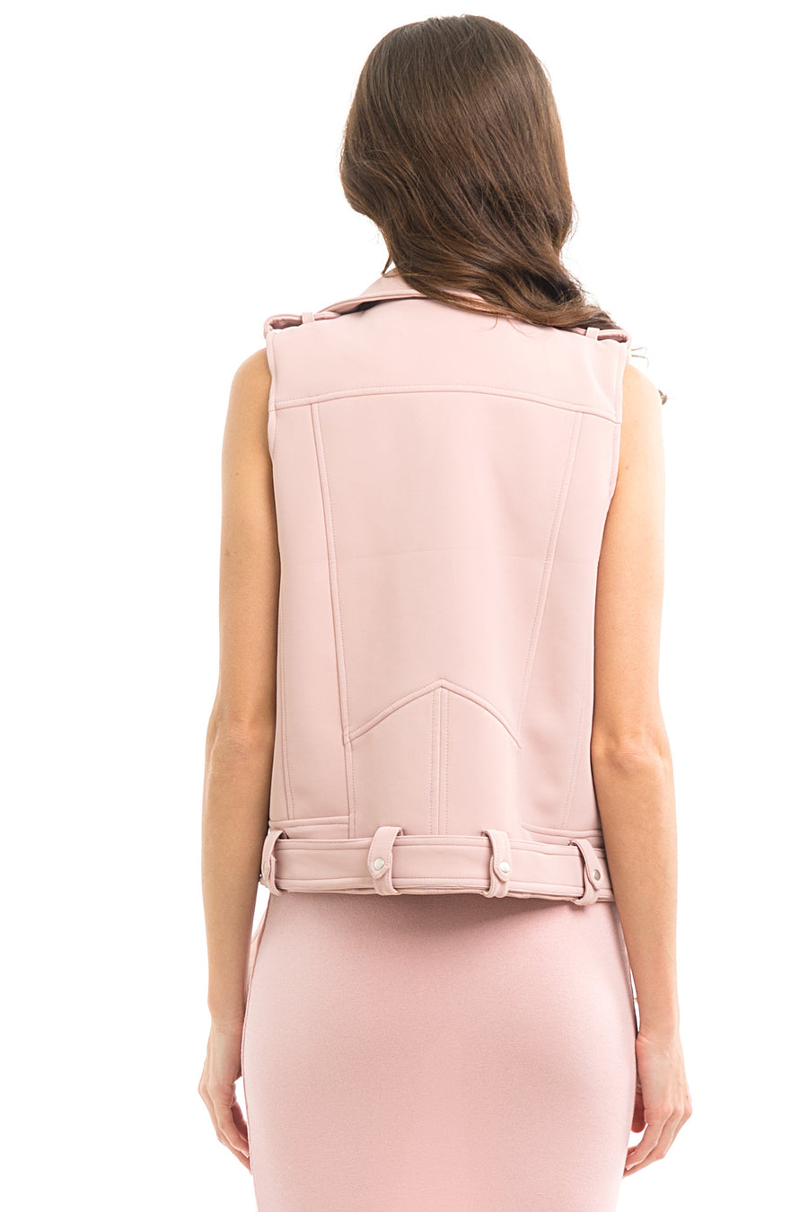Blush Faux Leather Moto Vest