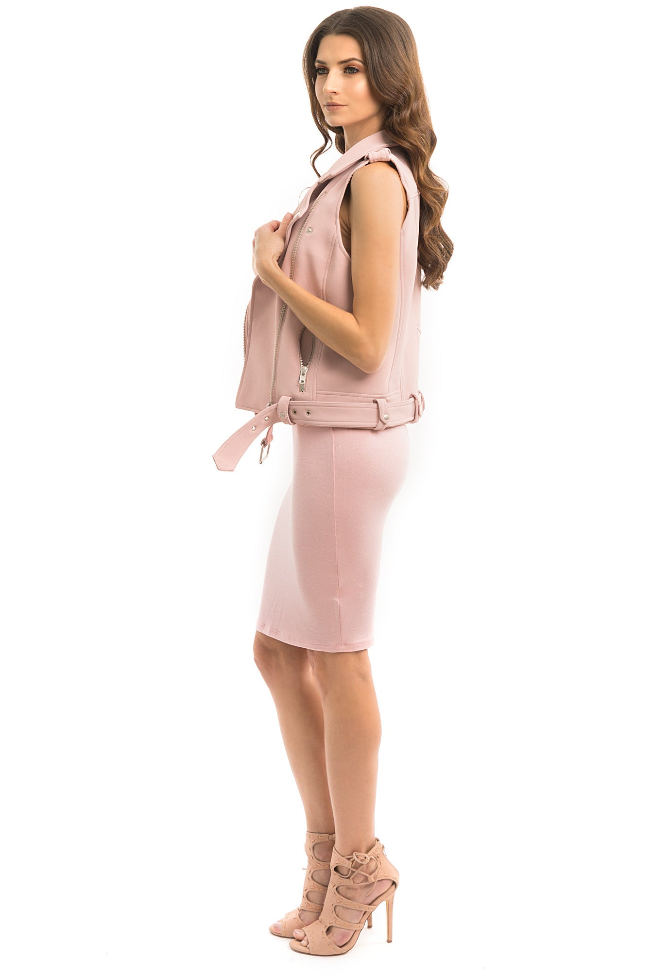 Blush Faux Leather Moto Vest - Style Link Miami