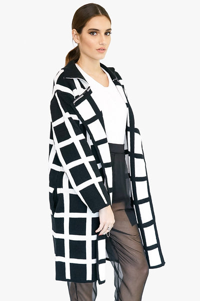 Open Front Plaid Sweater Coat
