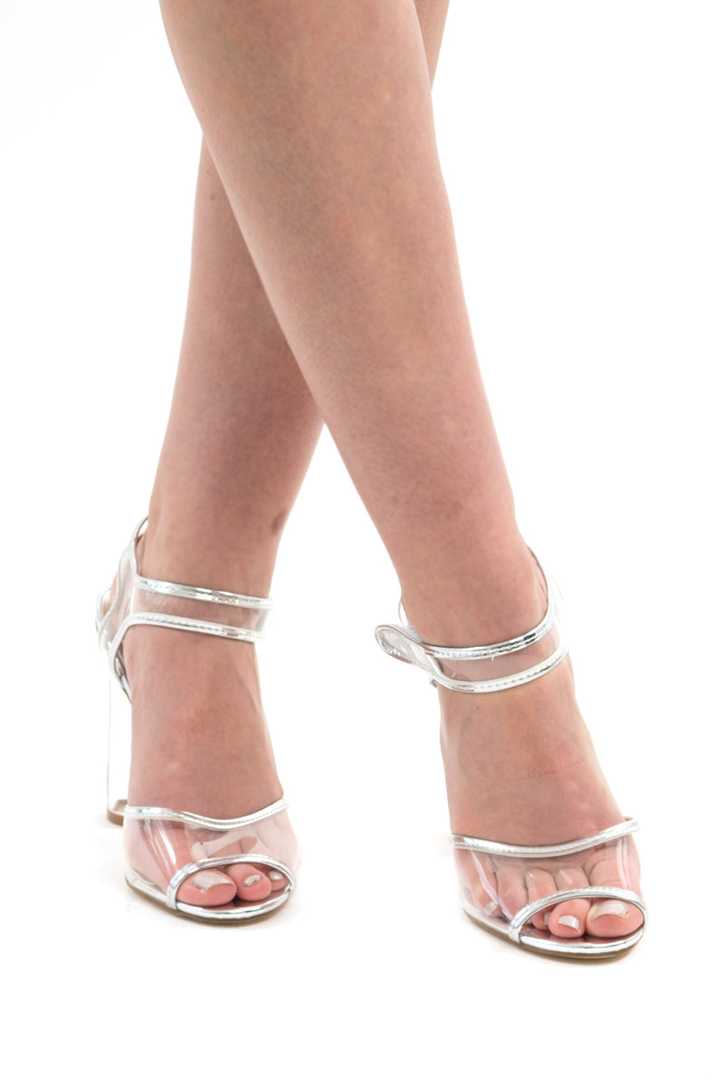 Clear Transparent Peep-Toe- Ankle Strap Block Heel