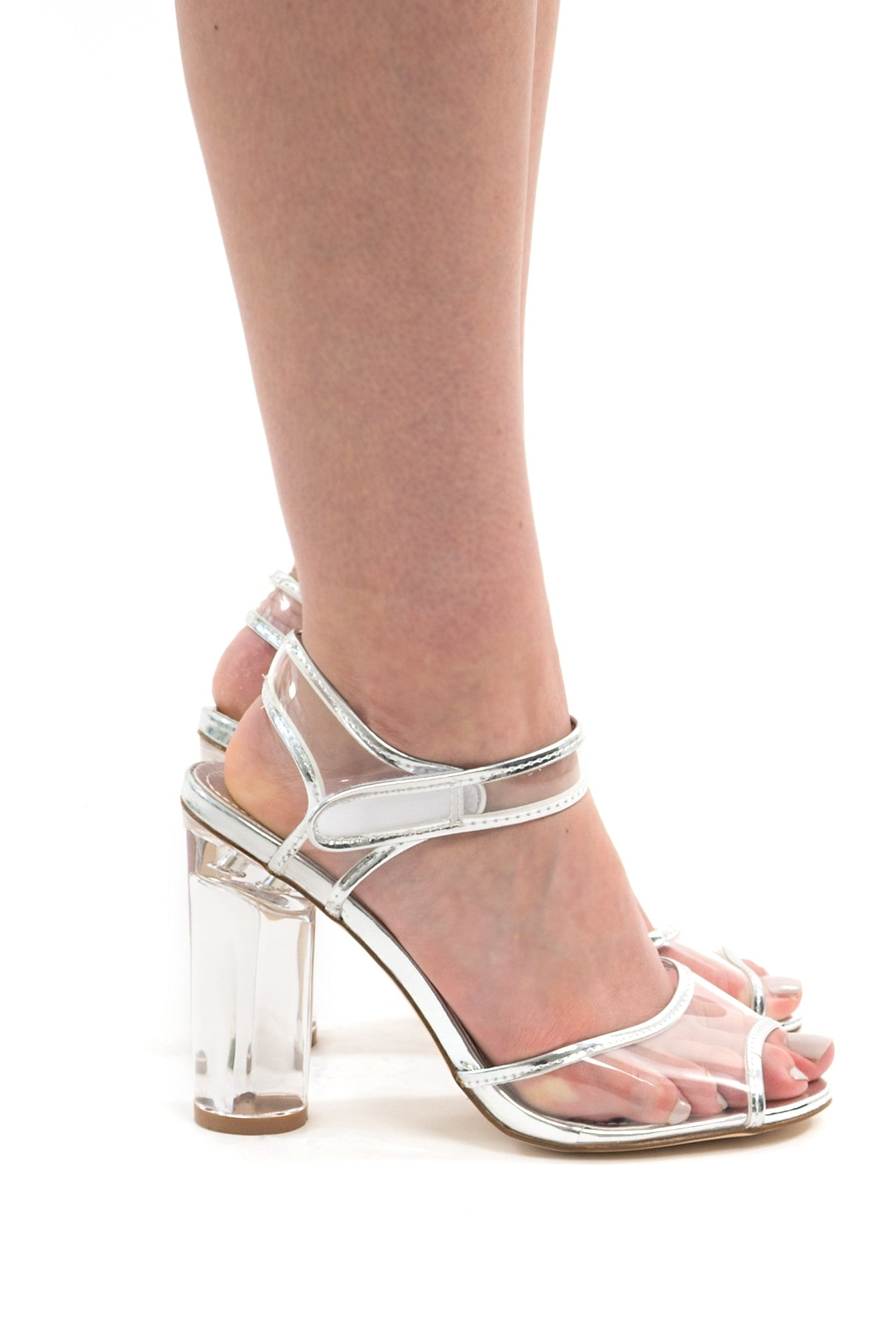 Clear Transparent Ankle Strap Silver Heels