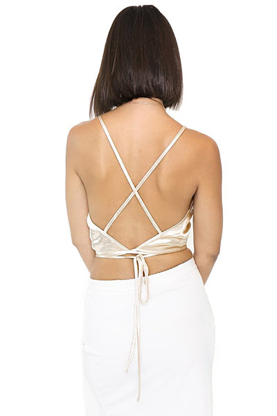 Golden Halter Crop Top