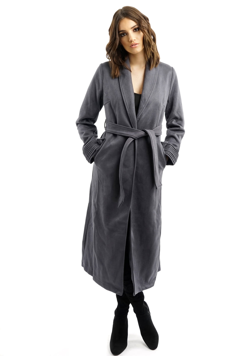 Grey Suede Belted Trench Coat