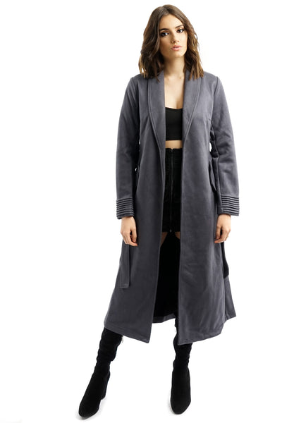 Charcoal Grey Suede Belted Trench Coat