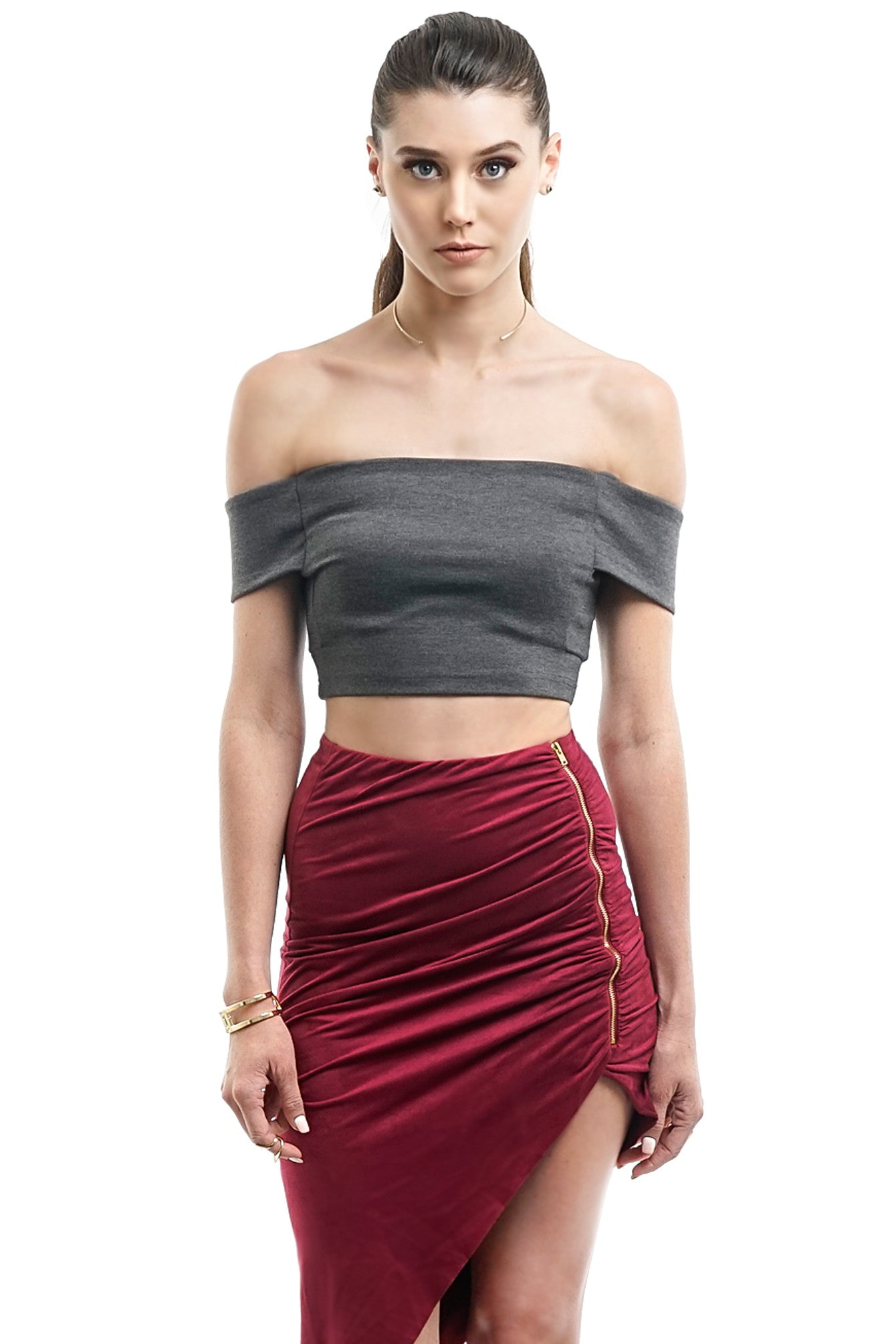 Grey Off-The-Shoulder Crop Top