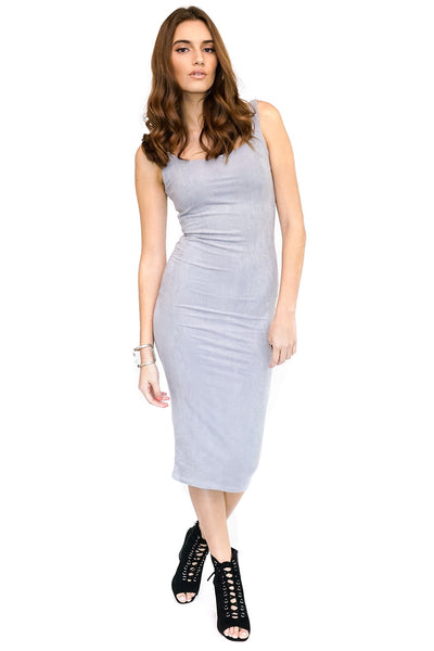 Gray Suede Midi Dress