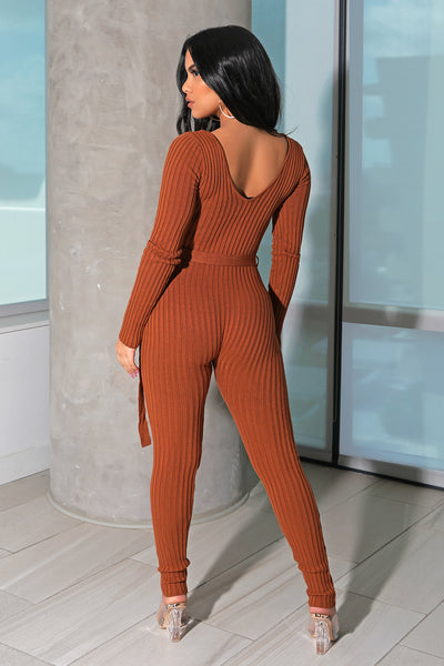 Rust Ribbed Knit Jumpsuit