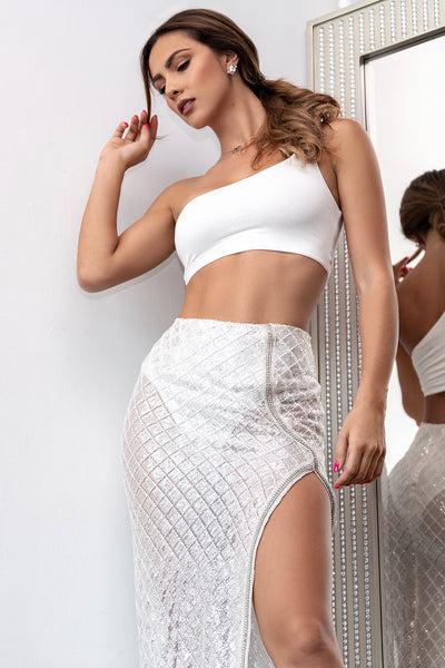 Silver Sequin High Side Slit Maxi Skirt