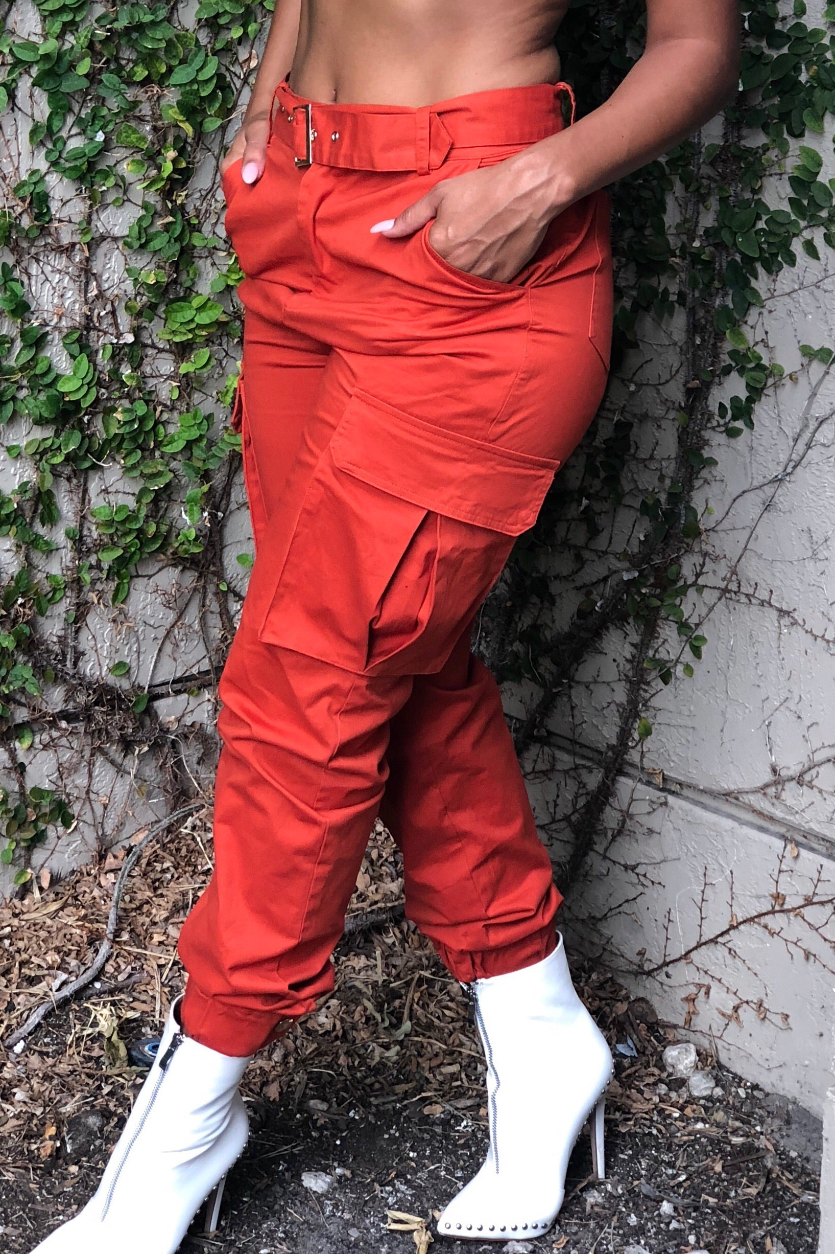 Rust Orange Long Belt Cargo Pants