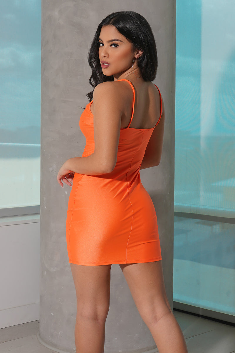Neon Orange Cami Bodycon Dress