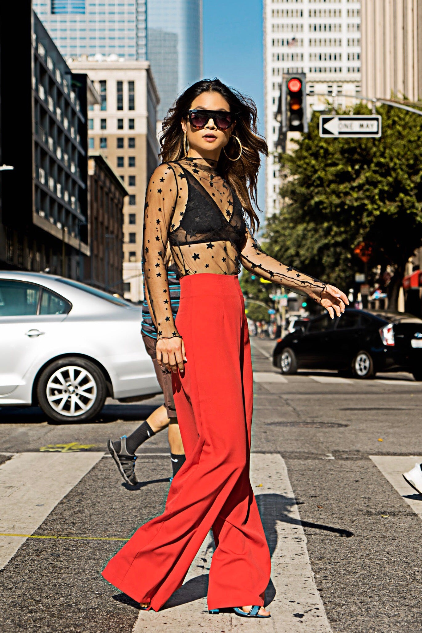 Deep Red High Waist Wide Leg Pants