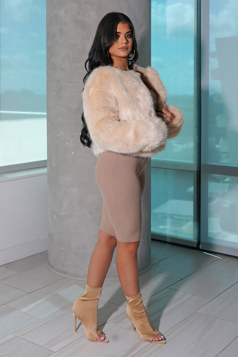 Nude Faux Fur Cropped Coat