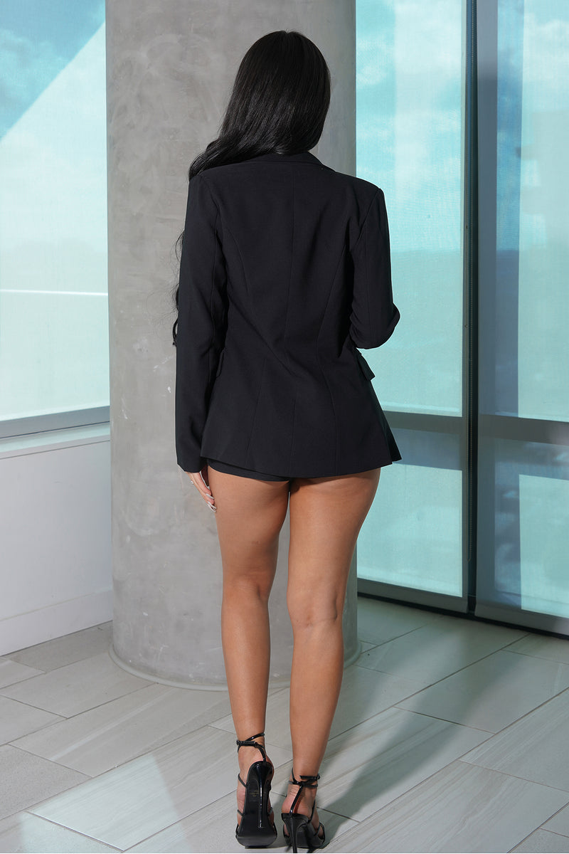 Black Blazer Jacket and Shorts Set