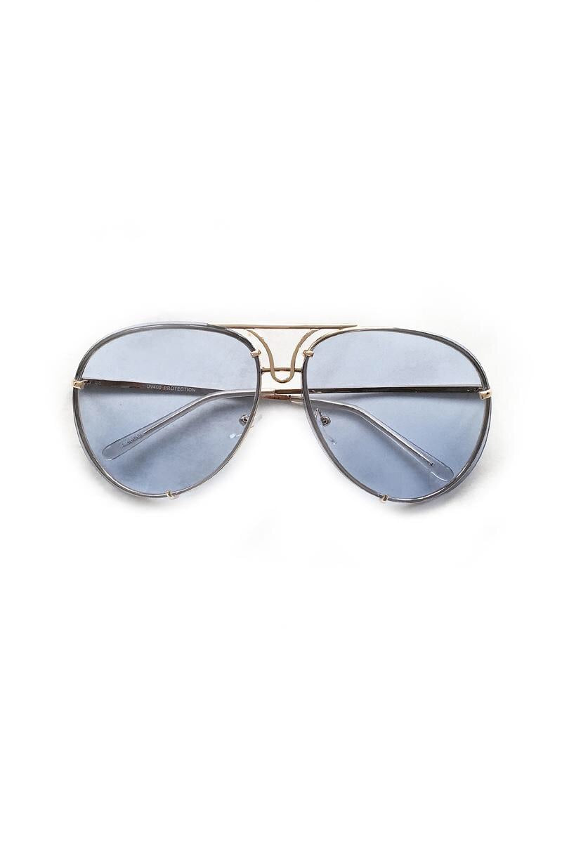 Light Blue Colored Lens Oversized Aviator Sunglasses
