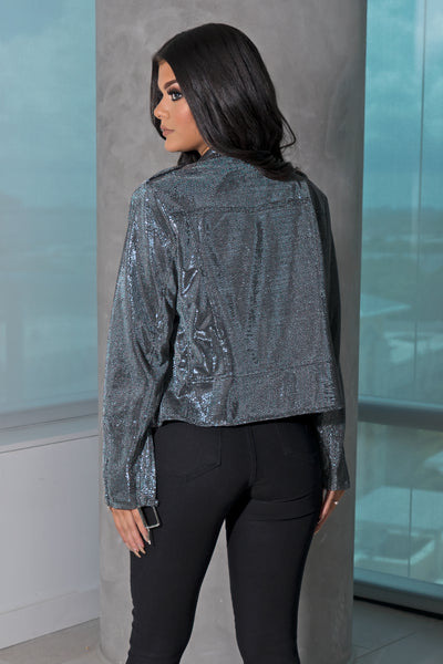 Silver Metallic Moto Jacket