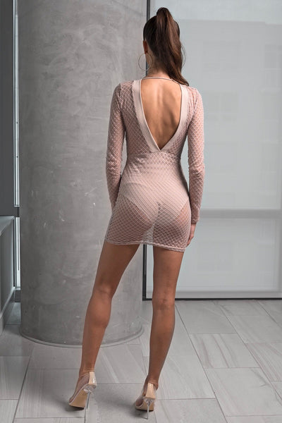 Nude Deep V Mesh Mini Dress