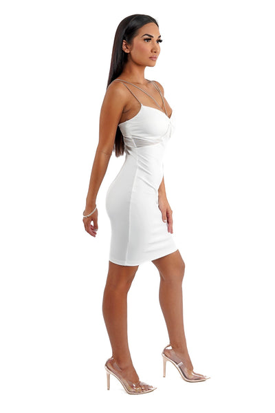 White Metal Strap Mini Dress