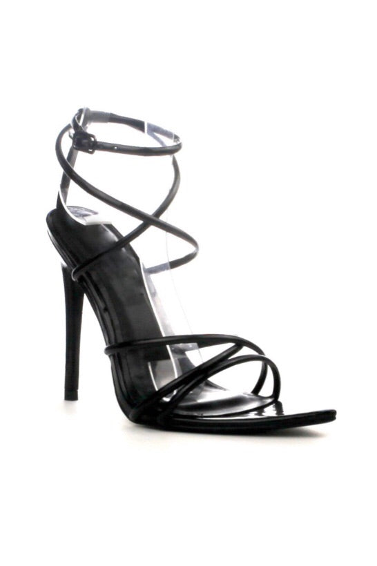 Black Strappy Open Pointy Toe Heels