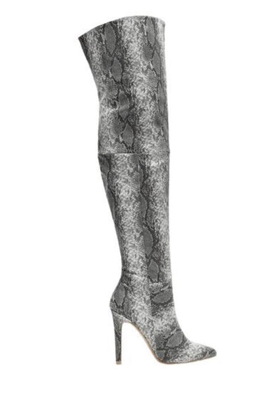 Over The Knee Grey Snake Skin Boots