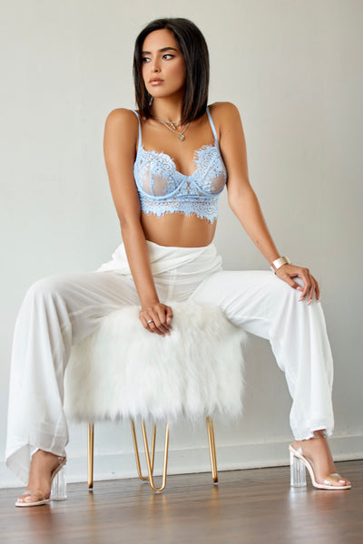 Baby Blue Lace Bralette Top