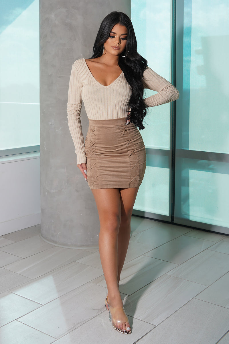 Soft Taupe Ribbed Knit Bodysuit