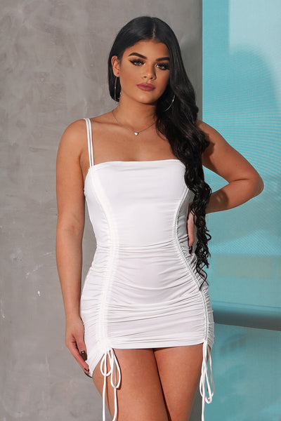 White Scrunch Tie Up Mini Dress