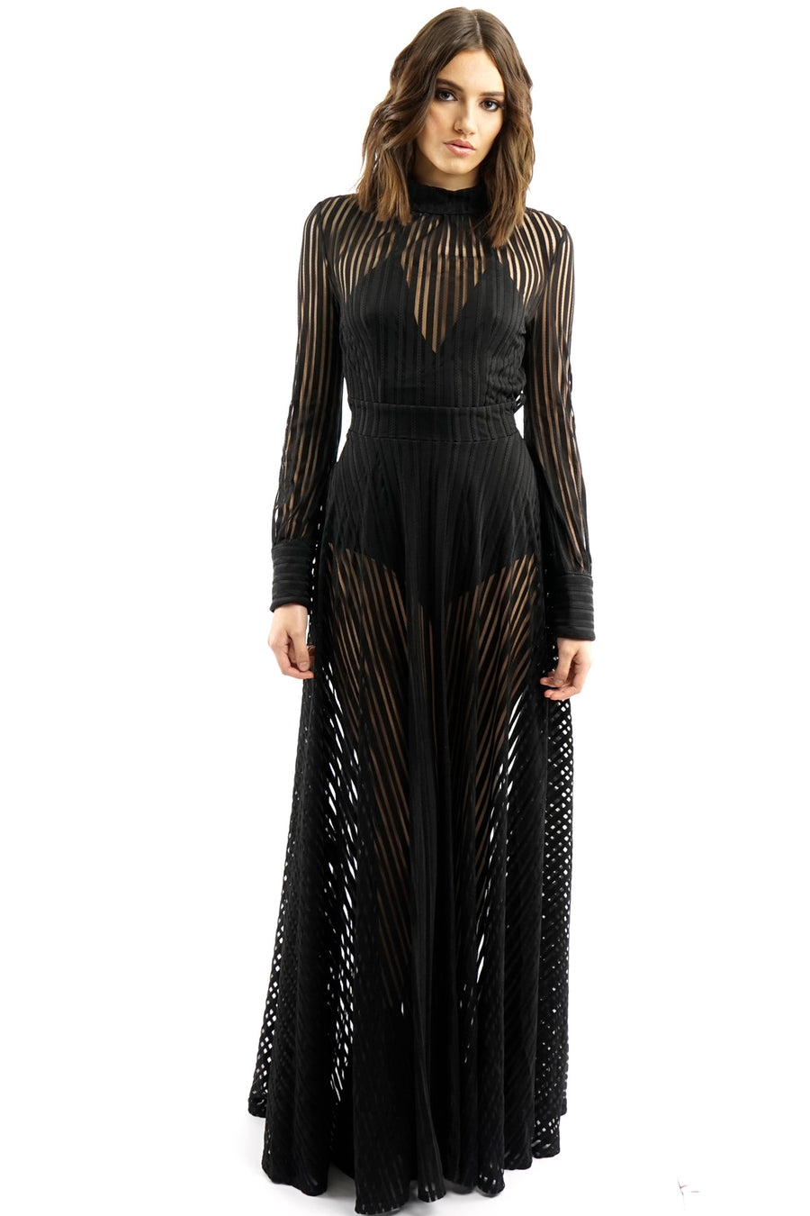 Black Mesh Maxi Long Gown Dress