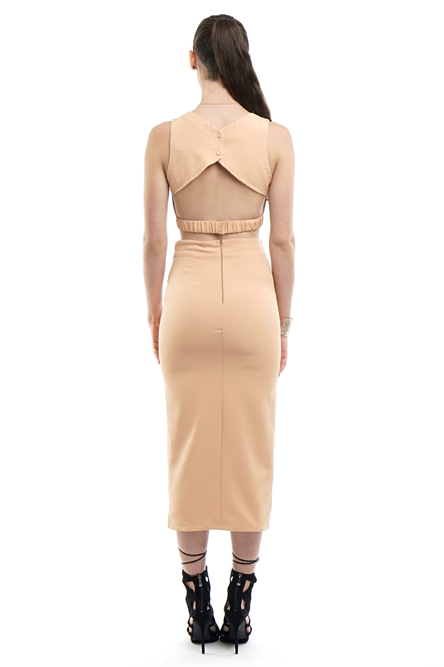 Nude-Peach Two-Piece Top and Skirt Set