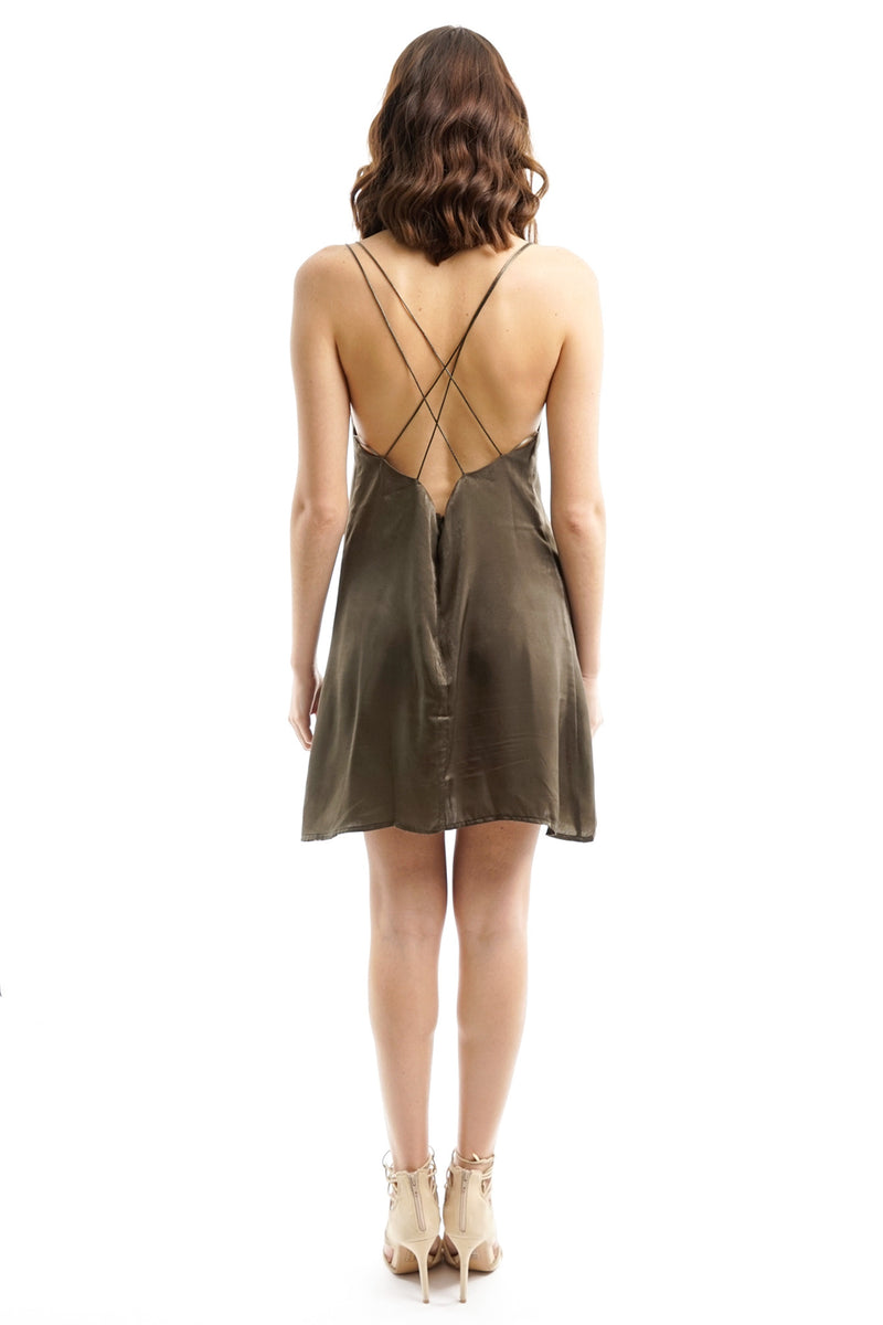 Olive Green Satin Slip Mini Dress