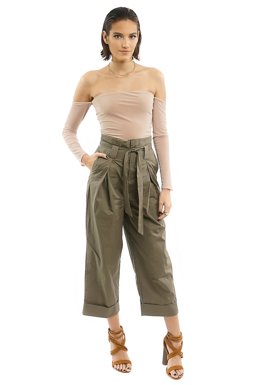 OLIVE TIE FRONT HIGH WAIST CUFF CROP PANTS