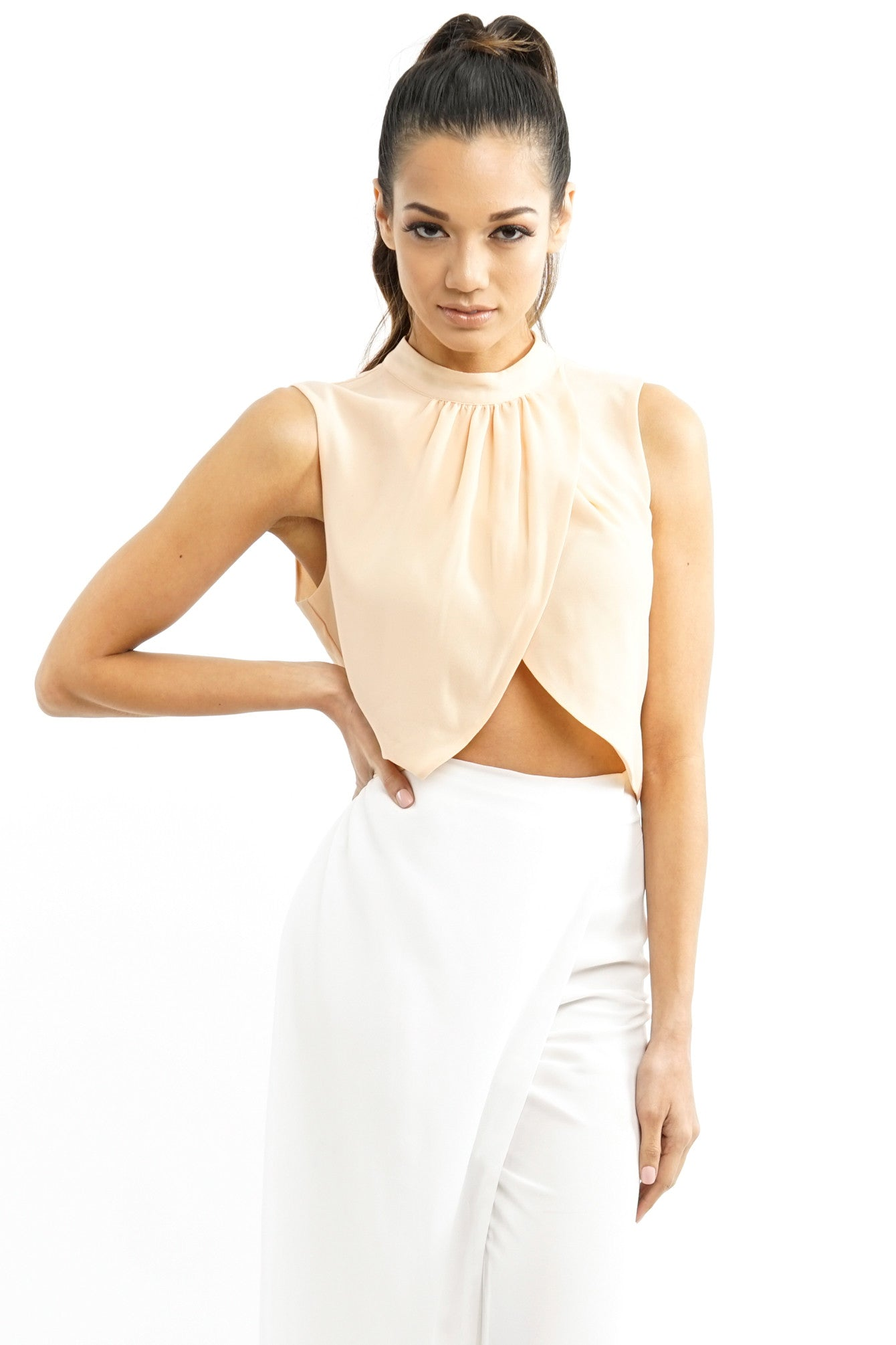 Peach Wrap Front Shell Crop Top