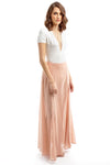 Peach Sheer Maxi Skirt with Split