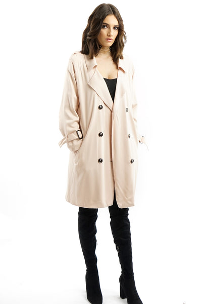 Pink Double-breasted Belted Trench Coat
