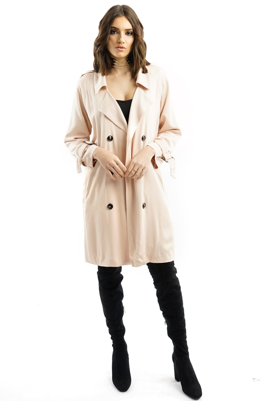 Nude Pink Double-breasted Belted Trench Coat