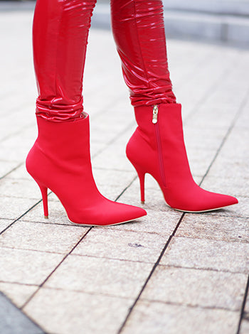 Red Pointed Toe Ankle Booties