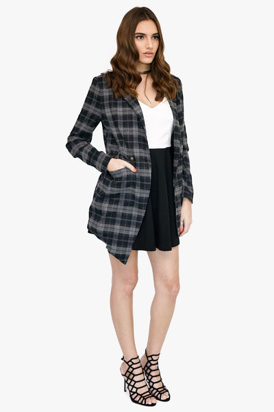 Plaid Asymmetrical Lapel Jacket