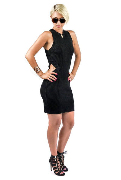 Black Sleeveless Side Cut Out Knit Dress