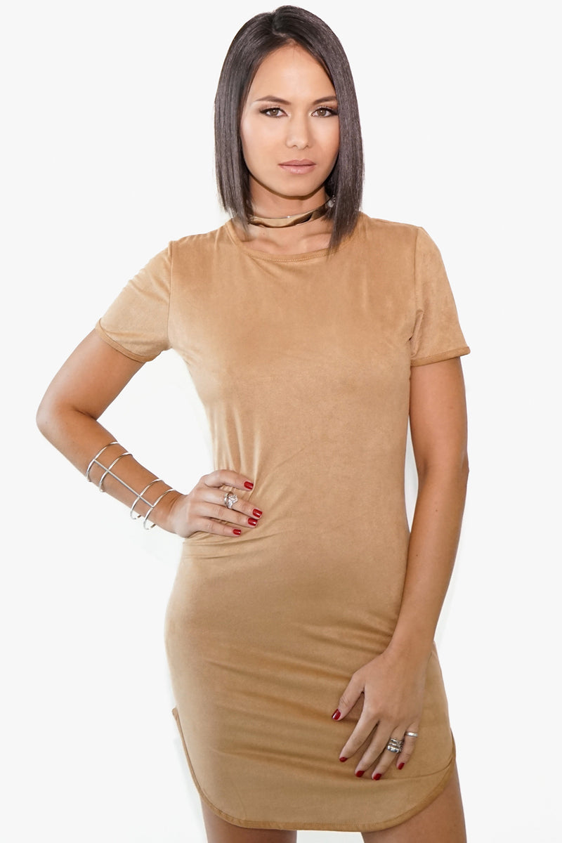 Tan Suede Mini Dress