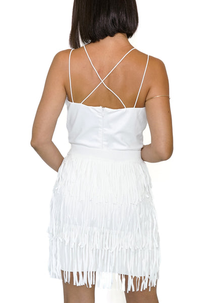 White Tiered Fringe Skirt
