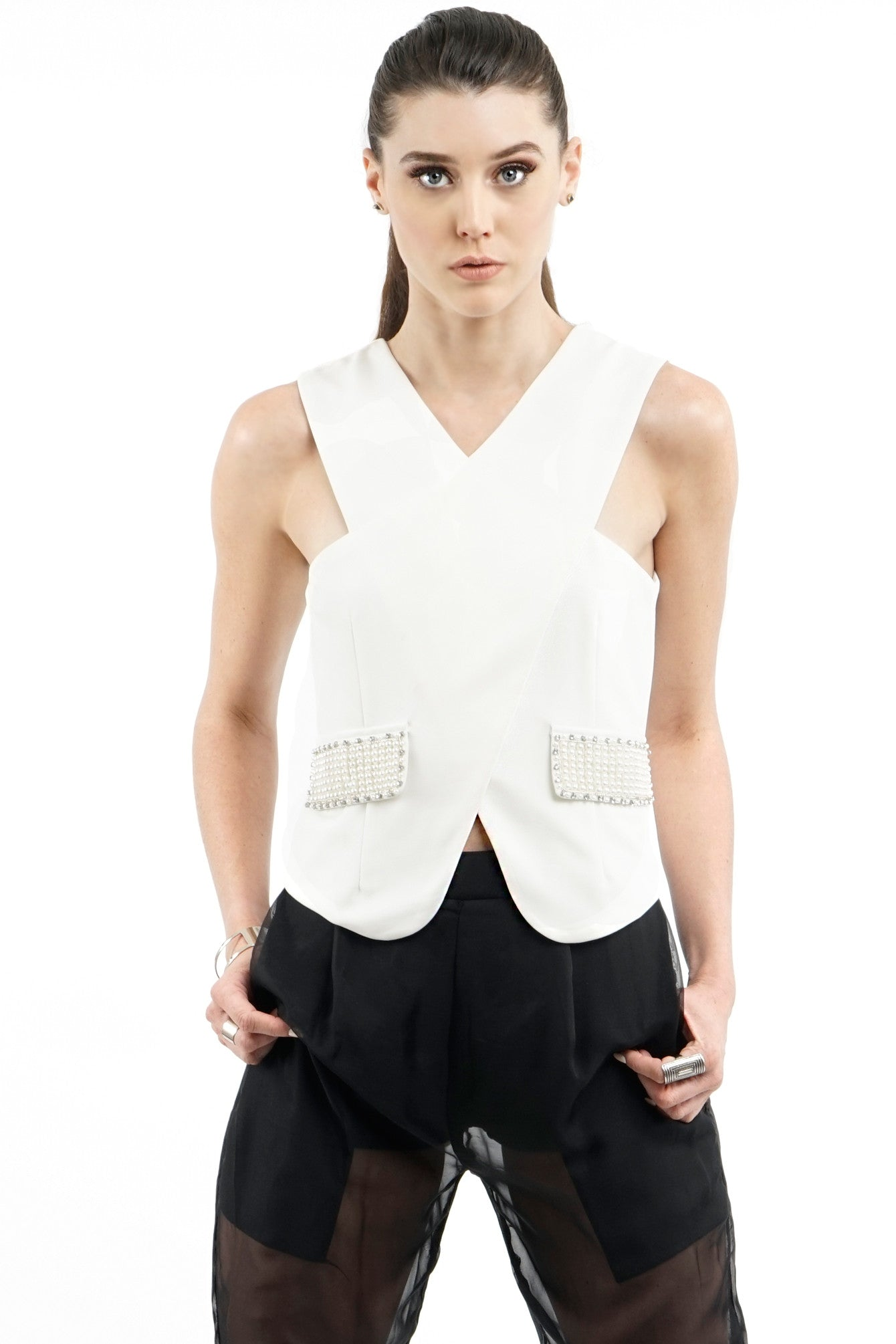White Pearl Embellished Wrap Front Top