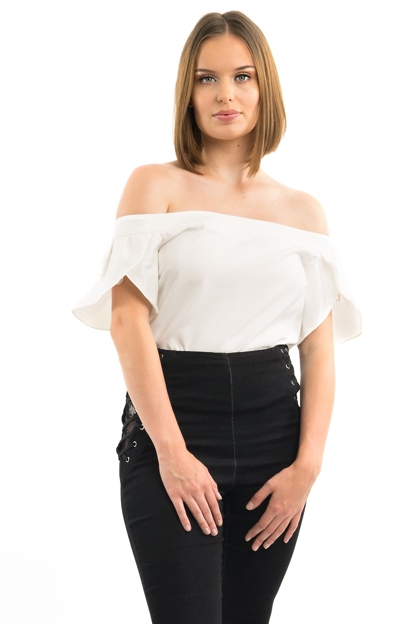 White Off-The-Shoulder Short Sleeve Blouse Top