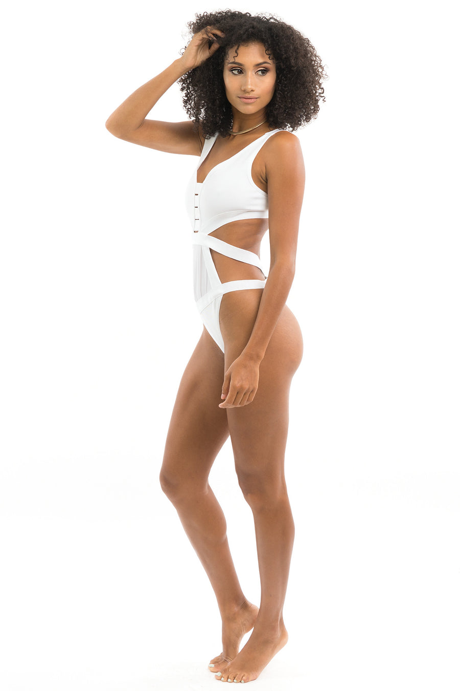 White Open Side Bandage Swimsuit