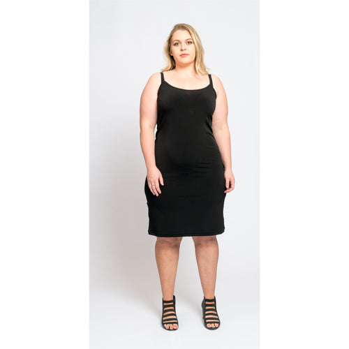 Black slip dress back in stock