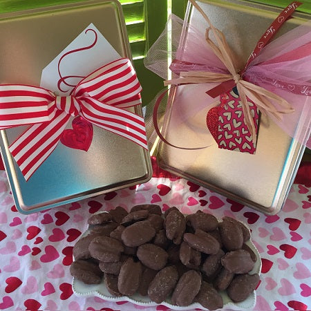 Valentine's Day Chocolate Covered Pecan Tin