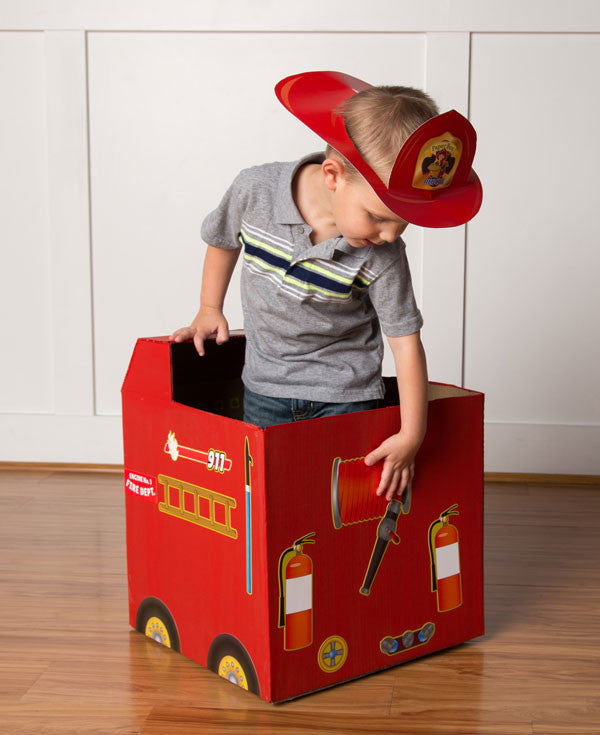 paper box rescue cardboard box fire engine stickers paper box